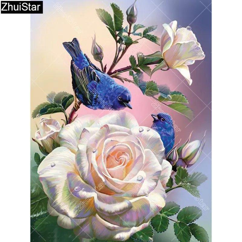 Diamanttavla Birds And Roses 30x40