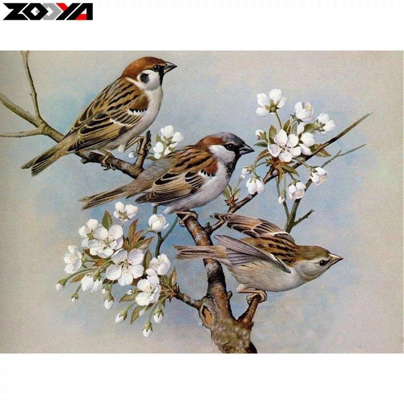 Diamanttavla Three Birds Cherrytree 40x50