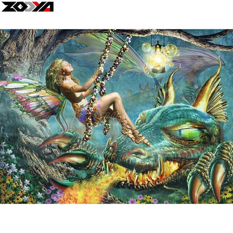 Diamanttavla Fairy And Dragon 50x60