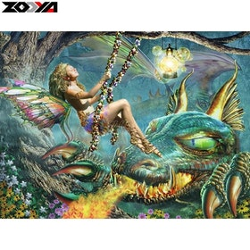 Diamanttavla Fairy And Dragon 50x60