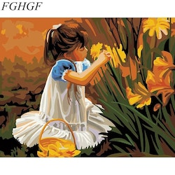 Paint By Numbers Girl With Lily 40x50