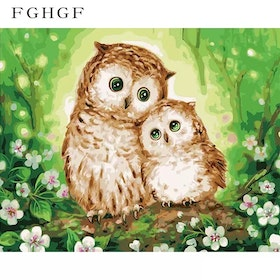 Paint By Numbers Cute Owls 40x50