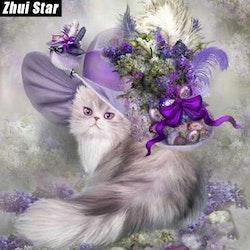 Diamanttavla (R) Purple Cat In Hat  40x40