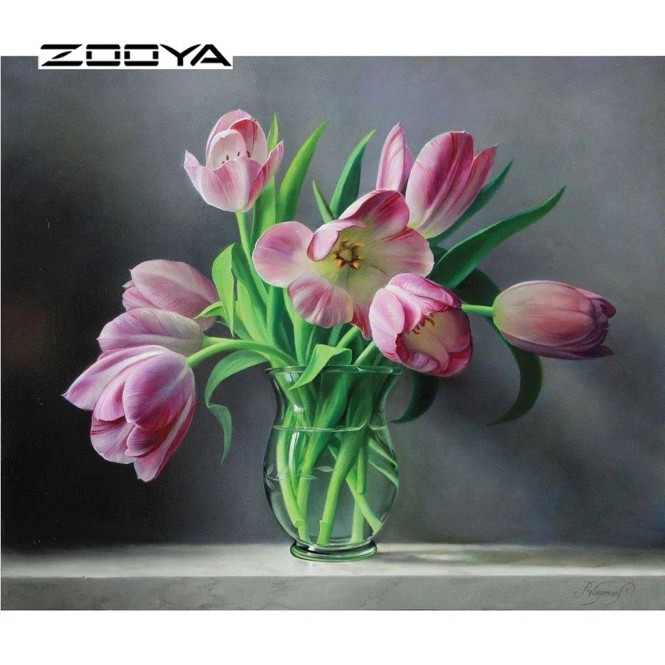 Diamanttavla Pink Tulips 40x50