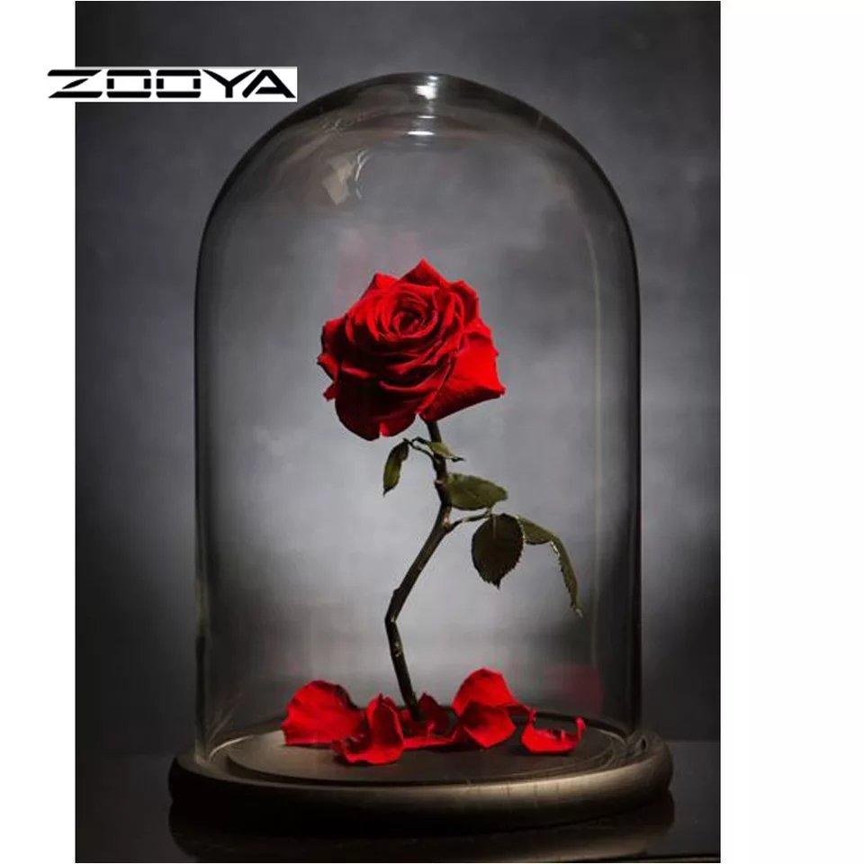 Diamanttavla (R) Rose In Glascube 30x40