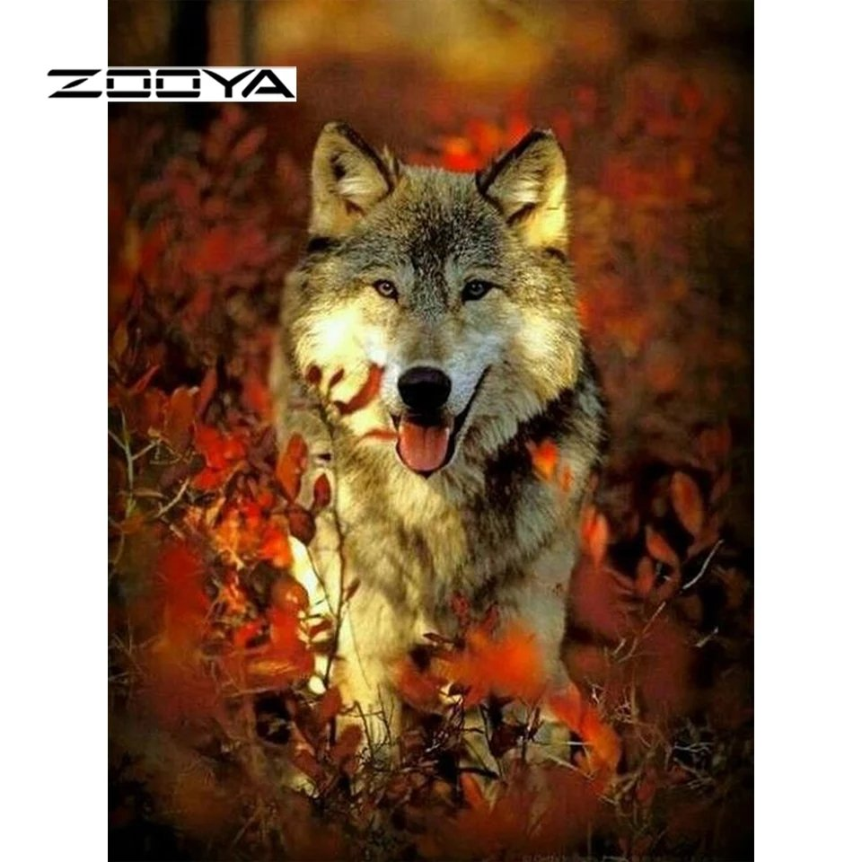 Diamanttavla Autum Wolf 40x50