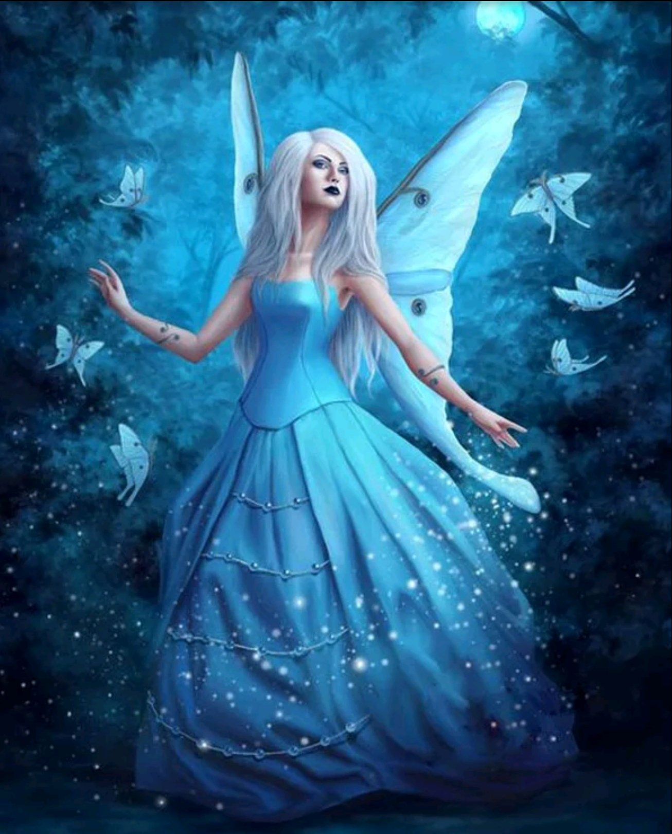 Diamanttavla Blue Butterfly Fairy 40x50