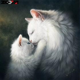 Diamanttavla White Cats 40x40