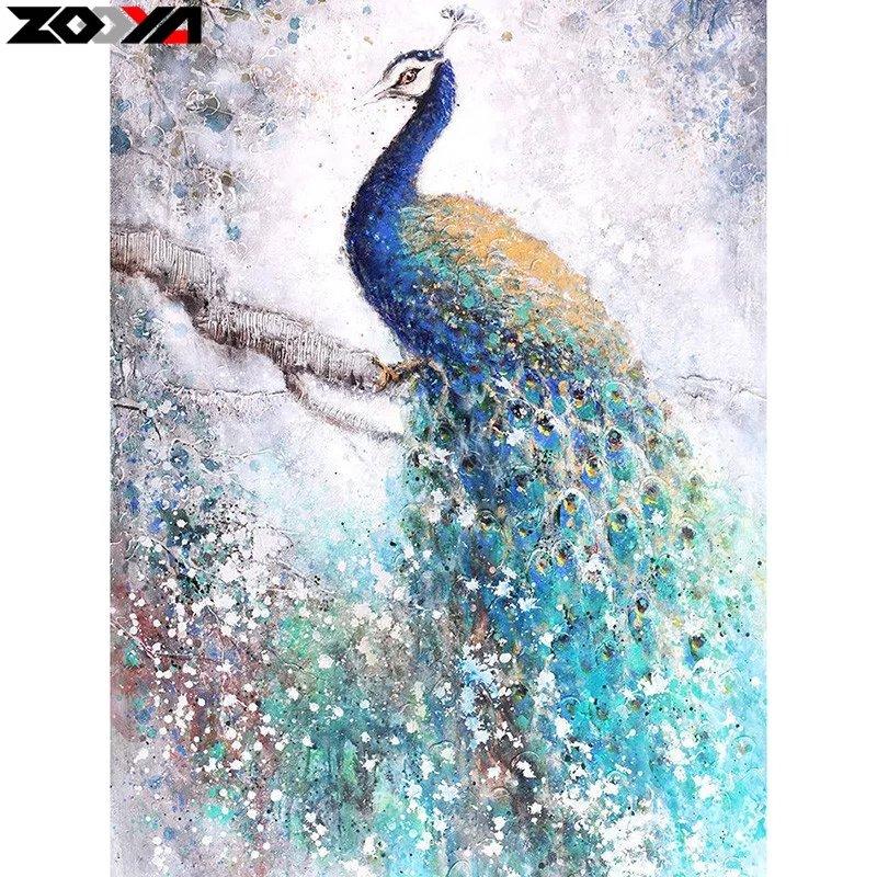 Diamanttavla Solitary Peacock 50x70