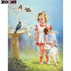 Diamanttavla Girl With Lamb 40x50