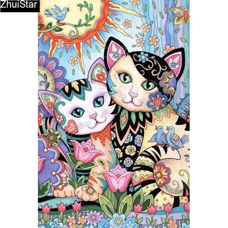Diamanttavla Flower Cats 40x50