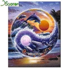 Diamanttavla (R) Dolphin Yin Och Yang 40x50
