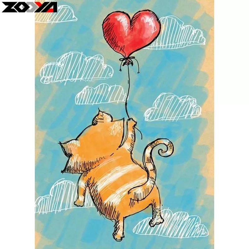 Diamanttavla (R) Cat Love Balloon 30x40