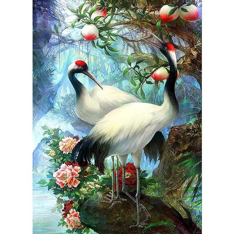 Diamanttavla Chinese Cranes 50x70
