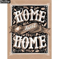 Diamanttavla Home Sweet Home Vintage 40x50.