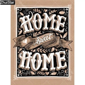 Diamanttavla Home Sweet Home Vintage 40x50