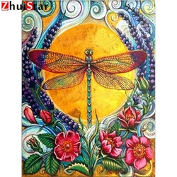 Diamanttavla Dragonfly Flowers 40x50