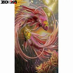 Diamanttavla Fish Couples 40x60