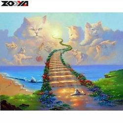 Diamanttavla All Cats Go To Heaven 40x50