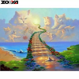 Diamanttavla All Cats Go To Heaven 40x50
