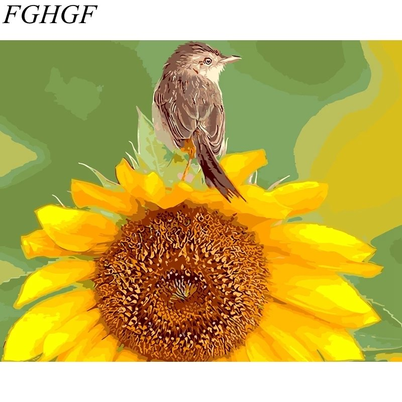 Paint By Numbers Bird On Sunflower  40x50