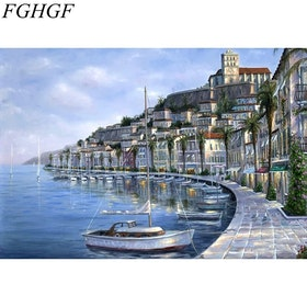 Paint By Numbers City Marina 40x50