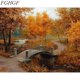 Paint By Number Autum Bridge 40x50