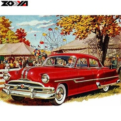 Diamanttavla Red Old Car 40x50
