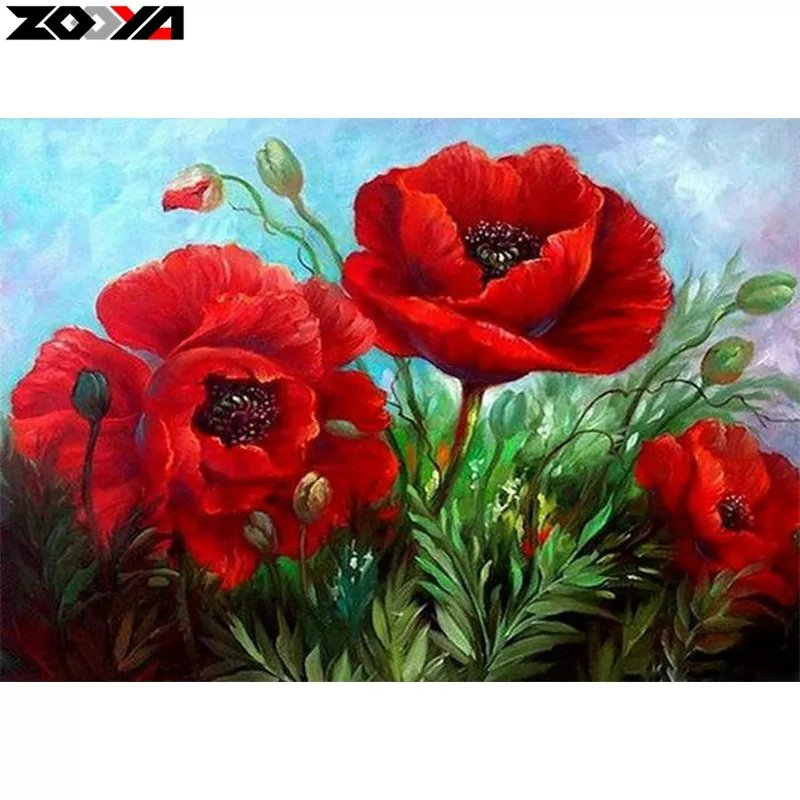 Diamanttavla Red Poppy Flower 40x50