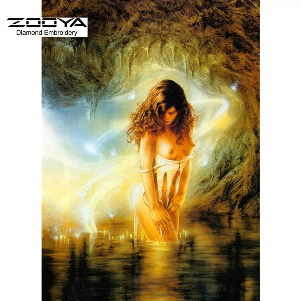 Diamanttavla Woman In Cave  40x50