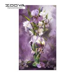 Diamanttavla Purple Floral  40x80