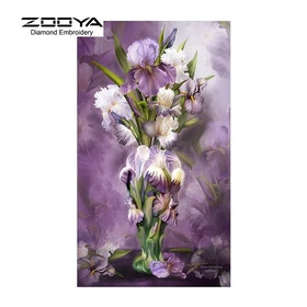 Diamanttavla Purple Floral  40x80