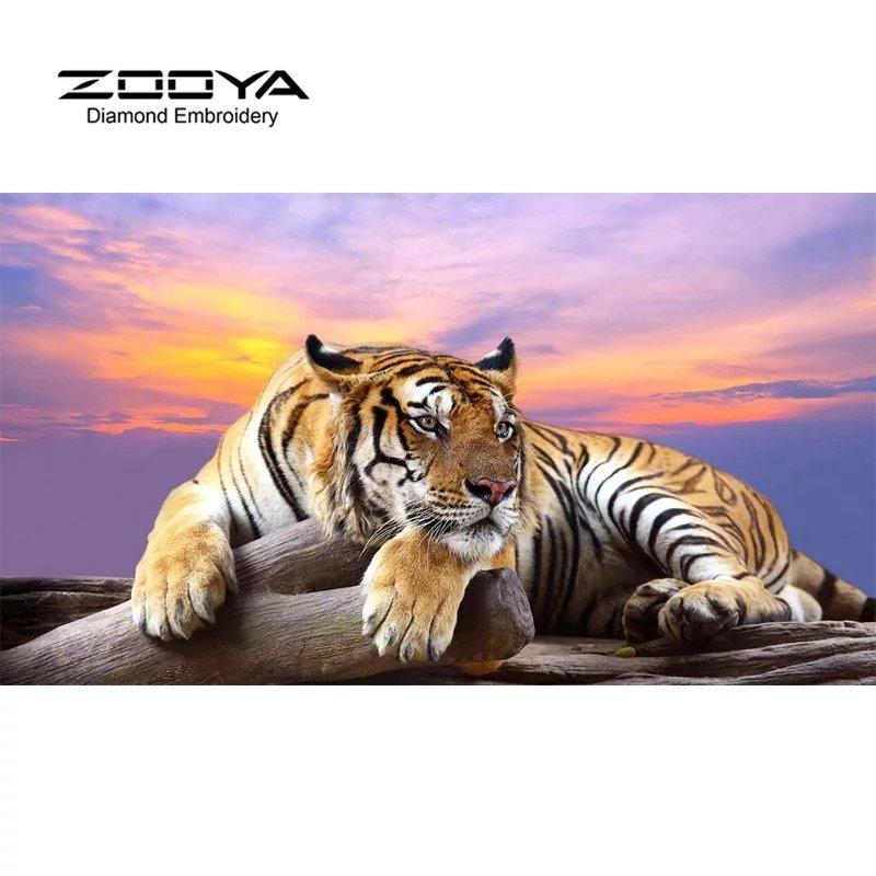 Diamanttavla Tiger Sunset 50x70