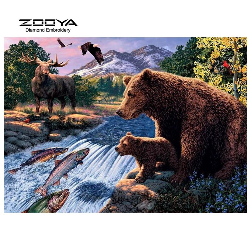 Diamanttavla Animals By The River 50x60