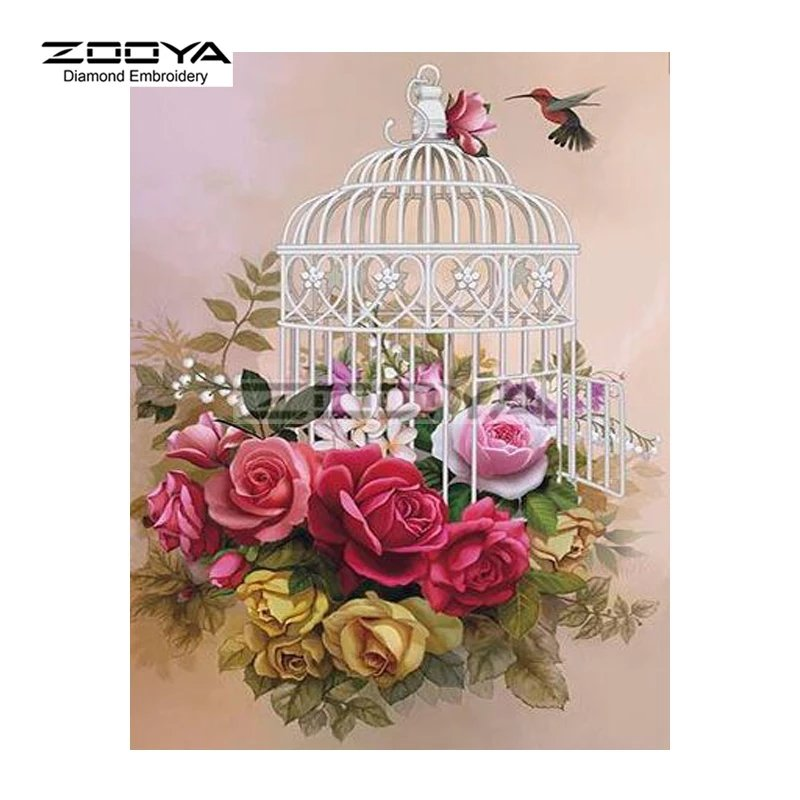 Diamanttavla ( R )Flowers And Birdcage 40x50