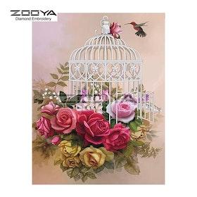 Diamanttavla Flowers And Birdcage 40x50