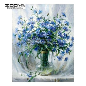 Diamanttavla Blue Flowers 40x50
