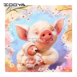 Diamanttavla Lovely Pig 40x40