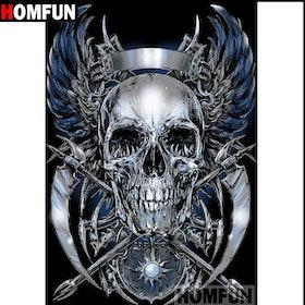 SNART I BUTIK - Diamanttavla Skull Metal 40x50