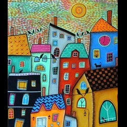 Diamanttavla Abstract House 40x50