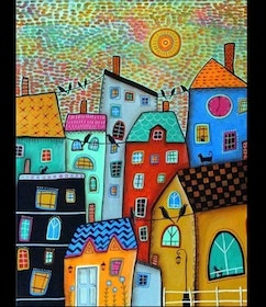 Diamanttavla Abstract House 30x40
