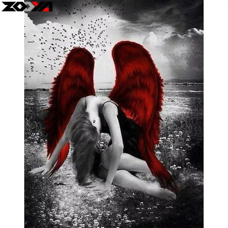 Diamanttavla Angel Red Wings 40x50