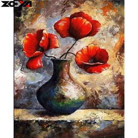 SNART I BUTIK- Poppy Flower In Vase 40x50