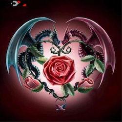 SNART I BUTIK- Diamanttavla Dragon Rose 40x40