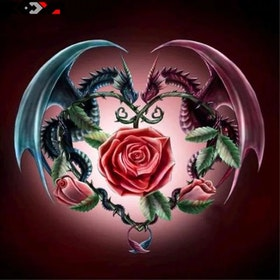 SNART I BUTIK- Diamanttavla Dragon Rose 40x40