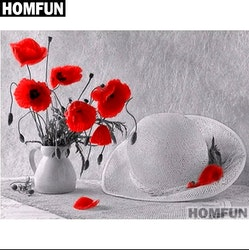 Diamanttavla Poppy And Hat 40x50