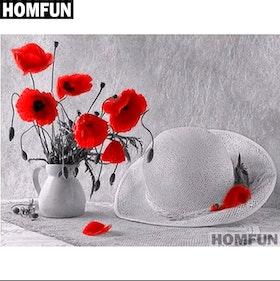 Diamanttavla Poppy And Hat 40x50