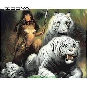 Diamanttavla White Tiger Woman 40x50