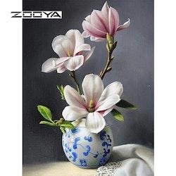 Diamanttavla Beauty Pink Flowers 40x50