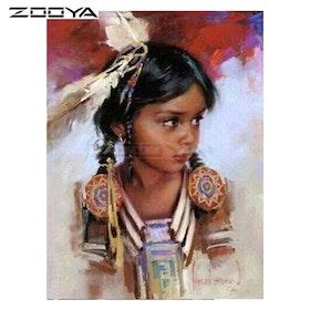 Diamanttavla Little Indiangirl 40x50